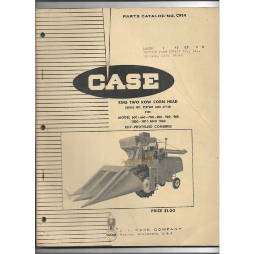original-case-f345-two-row-corn-head-parts-catalog-form-number-c914-dated-51966