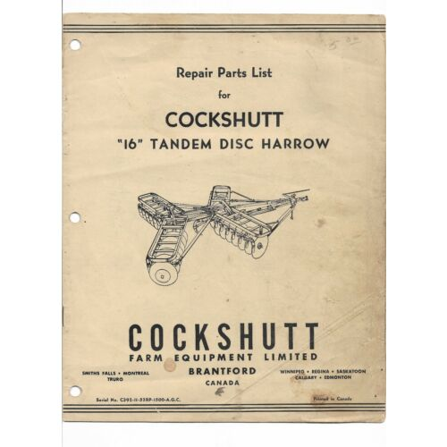 original-cockshutt-16-tandem-disc-harrow-repair-parts-list-catalog-c3931152rp