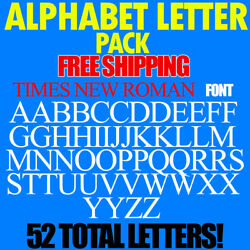 Alphabet Letters Decals TIMES NEW ROMAN 3/4'' to 5'' SIZES FREE SHIP STICKERS PACK