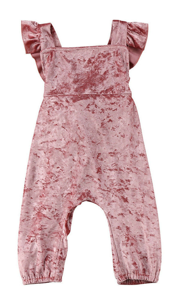 f1ed5d698131 Details about Baby Girl Light Pink Velvet Style Dungarees Jumpsuit Outfit  3-6m 6-12m 1-2y 2-3y