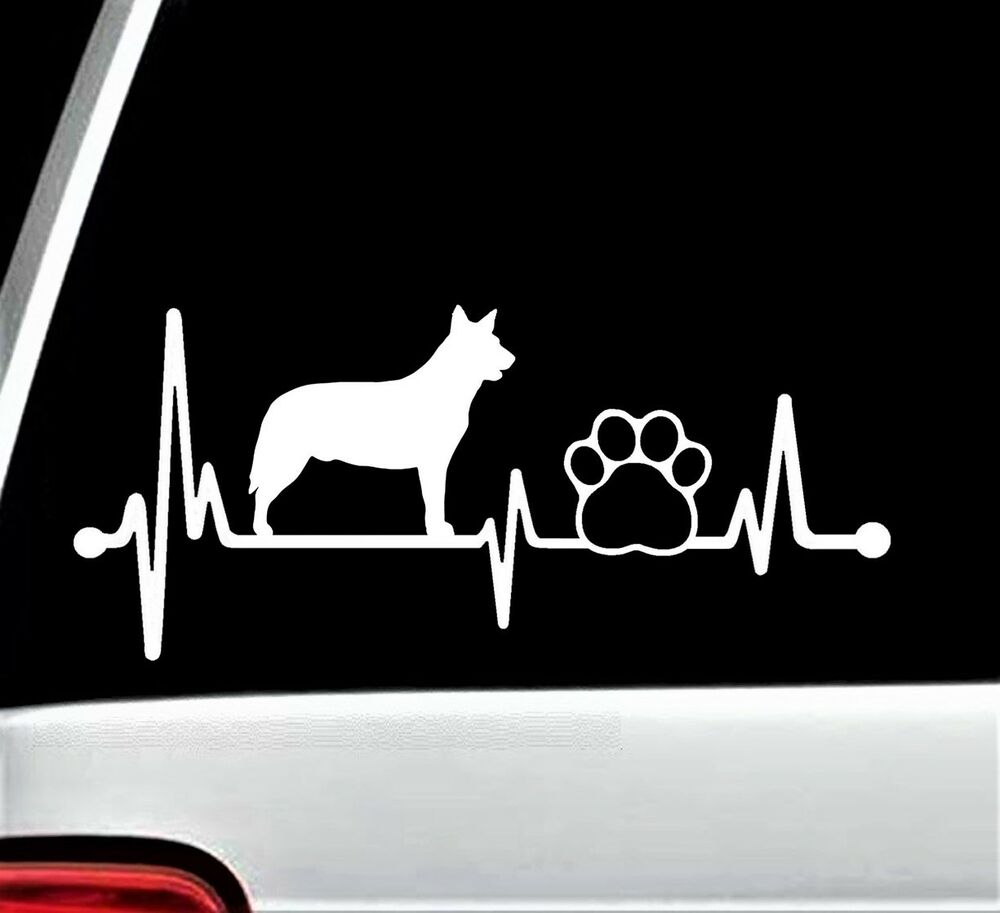Details about blue heeler heartbeat cattle dog paw decal sticker for car window 8 inch bg 151