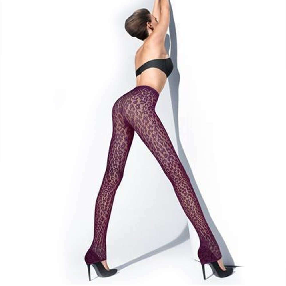 ae91aa3bd Details about Wolford Leggings Leo Lace Purple Fashionable Designer Party  Look Hosiery Small