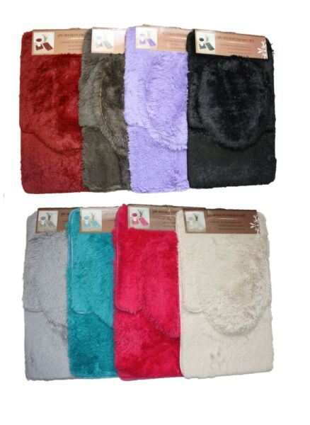 3 Piece Solid Plush Bathroom Rug Set, Bath Mat, Contour Rug, Toilet Lid Cover