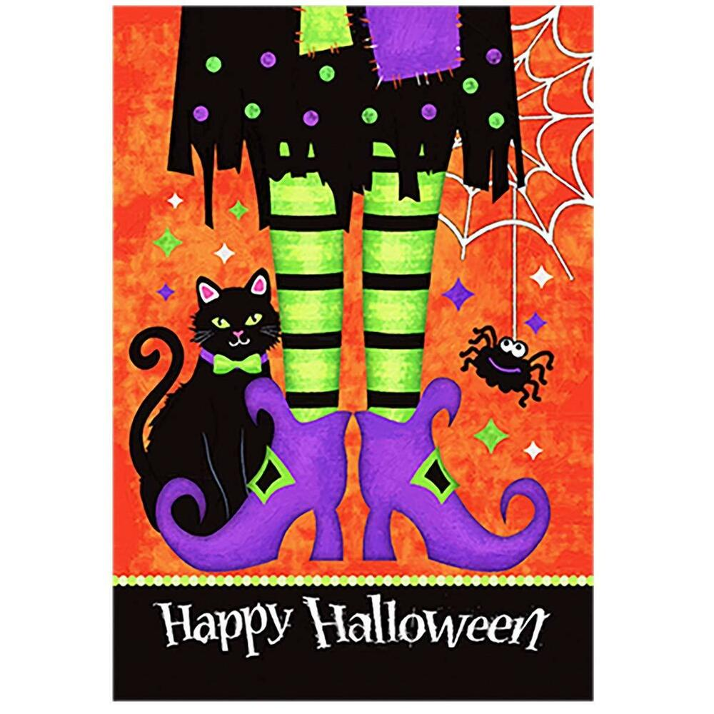 Details about Morigins Happy Halloween Witch Feet Black Cat Spider Double  Sided Garden Flag 78cbe970a