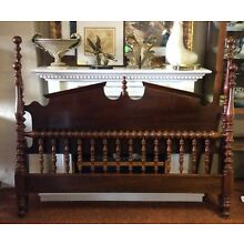 Jenny Lind 4 Poster Spindle Spool Queen Bed Headboard & Footboard