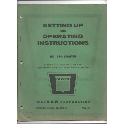 original-oem-oliver-model-59a-loader-operators-manual-c5003c-dated-june-1961