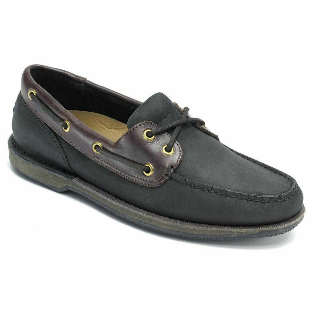 11a151ee84 Details about Rockport Men s Perth Black Bark Boat Shoes K71274