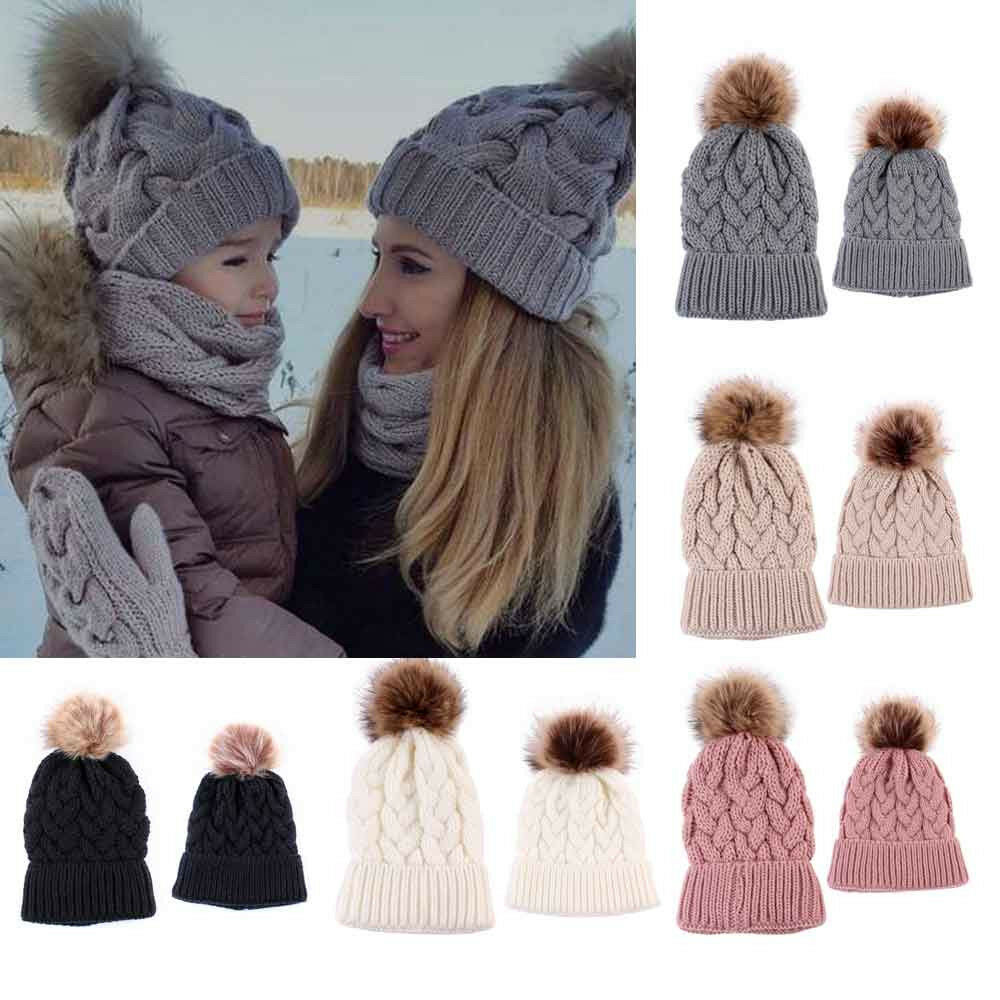 d0eb4cba2fc3d Details about 2PCS Fashion Mom Baby Knitting Keep Warm Winter Hat Family Matching  Hats Outfits