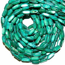 MP2187 Teal Blue-Green 12mm - 15mm Flat Round Tube Mother of Pearl Beads 15