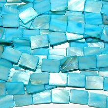 MP2273 Carbbean Blue 20mm Flat Rectangle Mother of Pearl Shell Beads 15