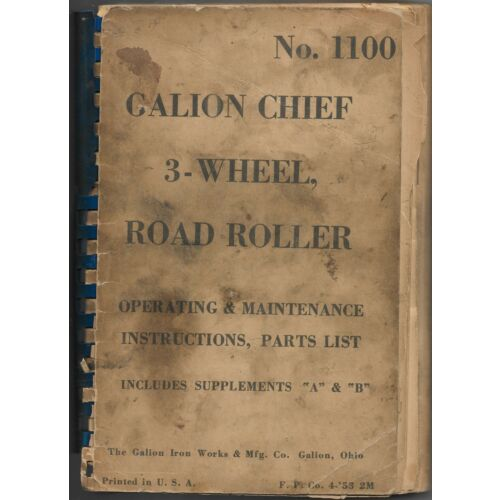 original-no-1100-galion-chief-3wheel-road-roller-operators-manual-parts-list