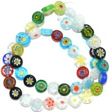 G4491 Assorted Color 8mm Flat Round Coin Millefiori Flower Glass Beads 14