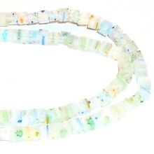 G861 Clear w Multi-Color Flowers 4mm Square Cube Millefiori Glass Beads 15