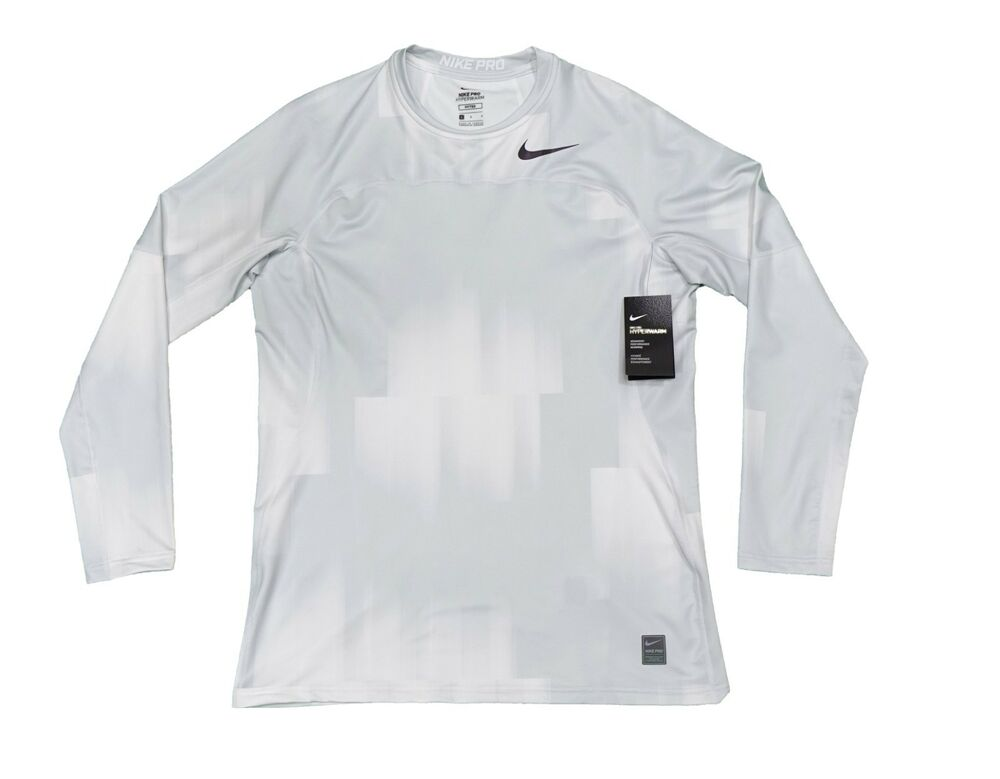 e6cef5df84f73 Details about Nike Pro Hyperwarm Fitted Long Sleeve Training Top Shirt  White Light Gray Large