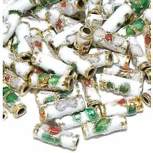 CLL133 White 9mm Round Tube Enamel Overlay on Metal Cloisonne Beads 50pc
