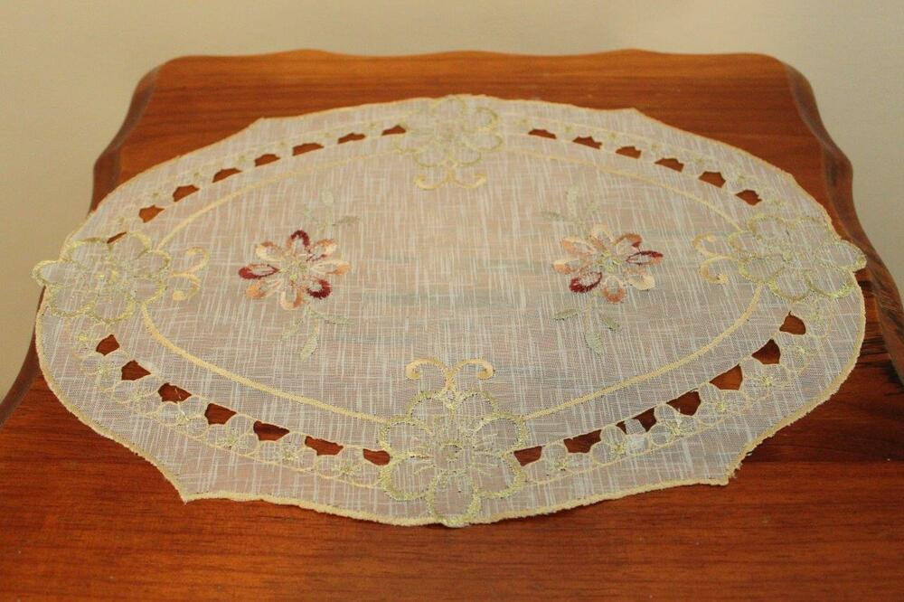 Details About Embroider Satin Coffee Table Doilies Placemat 24x34 Cm Oval Shape Furniture