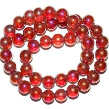 G2876 Red AB Transparent 10mm Round Glass Beads 16