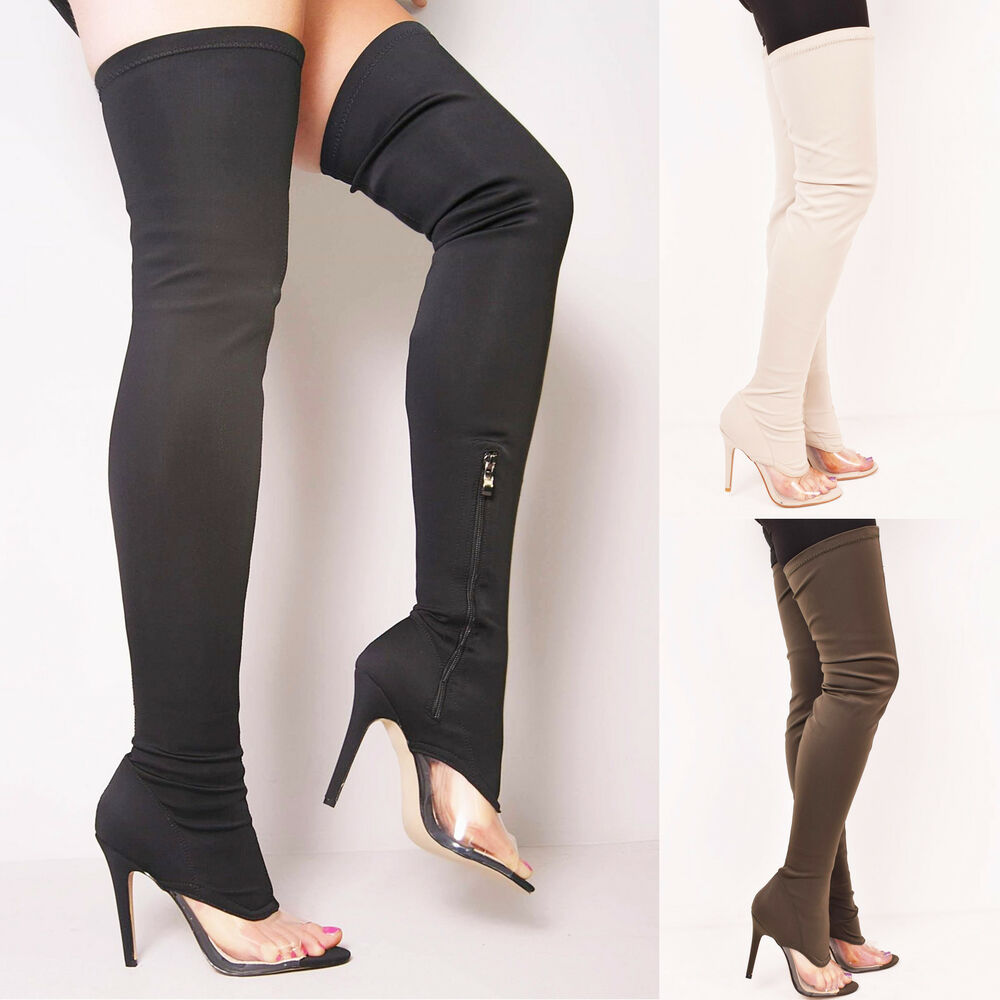 07702ddbf9 Details about Ladies Womens Thigh High Over The Knee Clear High Heel Boots  Stretch Sizes 3-9
