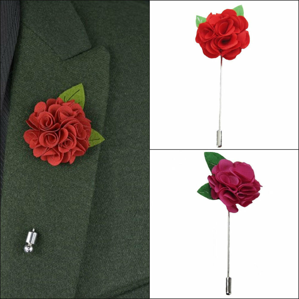 Hot Pinkred Wedding Mens Colored Flower Lapel Pin Boutonniere