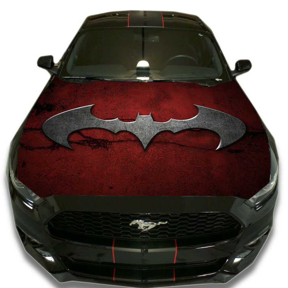 Details about vinyl car hood wrap full color graphics decal batman red sign custom sticker