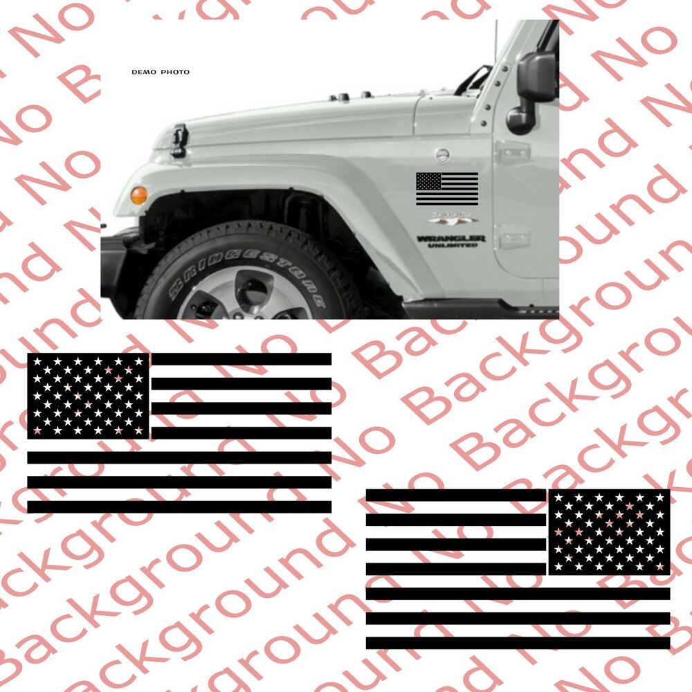 Pair Usa American Flag Vinyl Decal Sticker Car Truck