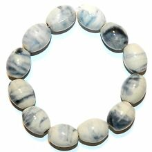 CPC258 Dark Teal Blue & White Multi-Tone 20mm Tapered Oval Porcelain Beads 8