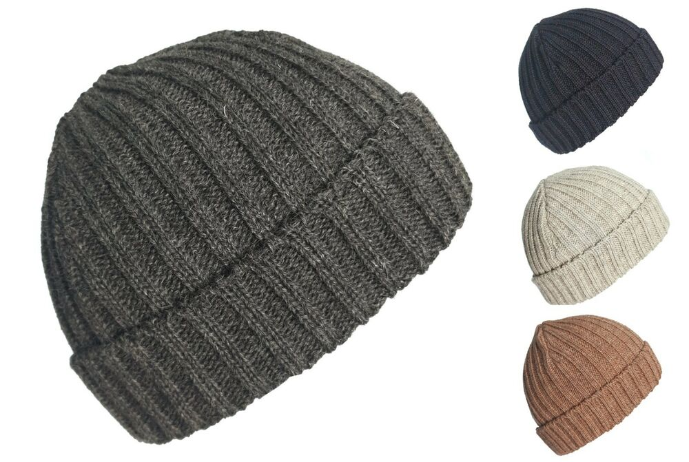 0a168a0583a Details about Mens Womens 100% BRITISH WOOL Thick Warm Ribbed Beanie hat