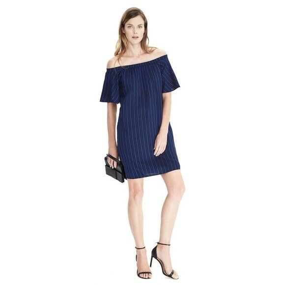 c5994cc4e014b Details about Banana Republic Navy Striped Off The Shoulder Dress XS New  Without Tags
