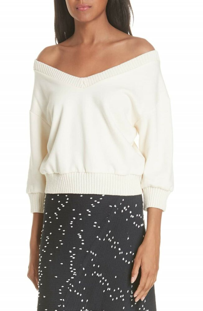 508b35f8fe628c Details about NEW 3.1 Phillip Lim French Terry Crop Sweater in Ivory - Size  M