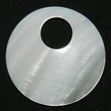 P2430 White Mother of Pearl Shell 50mm Round Go-Go Donut Pendant Bead