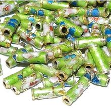 CL134 Green 9mm Round Tube Enamel Overlay on Metal Cloisonne Beads 25pc