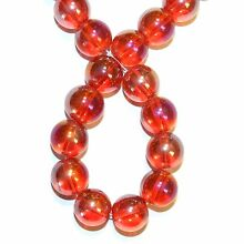 G2877 Red AB Transparent 12mm Smooth Round Glass Beads 16