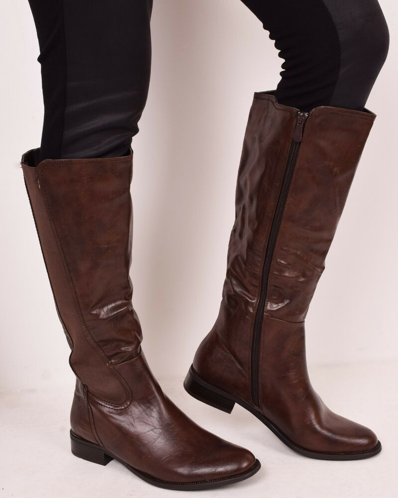 e497a16a56a Ladies Womens Winter Knee High Casual Fashion Walking Flat Boots Brown Size  3 4