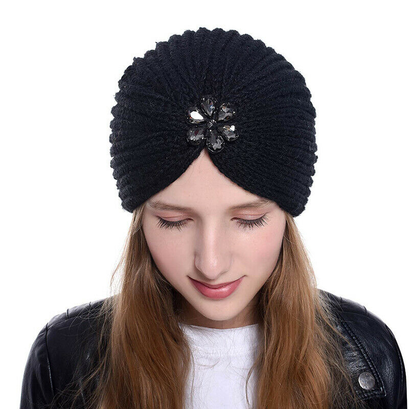 Details about Knitted Turban Hats Funny Cute Headband Head Wrap Cross India Caps  Ladies Winter c2e1dccbfa0