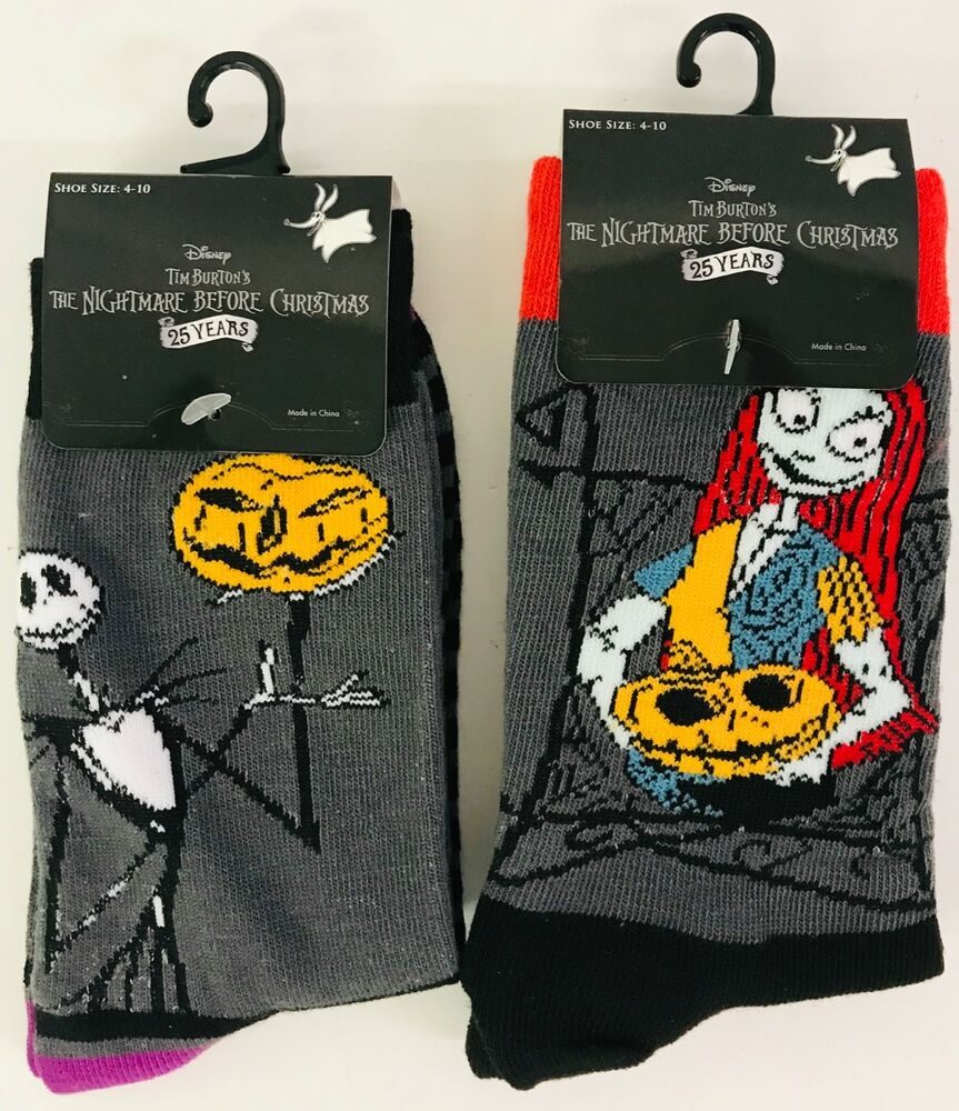 e2e41a939aa Details about Nightmare Before Christmas Disney 2 Pair Of Socks 25 Year  Anniversary Size 4-10