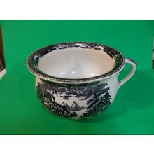 1800's Chamber Pot Black and White MYCENAE on bottom William A. Adderley & Co.