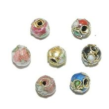 CL173 Assorted Color with Gold 5mm Round Enamel on Metal Cloisonne Beads 24pc