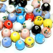 CPC351 Assorted Mixed Color Floral Embellished 8mm Round Porcelain Beads 24pc
