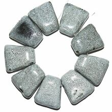 CPC223 Dappled Gray 32mm Top-Drilled Puffed Trapezoid Porcelain Beads 8