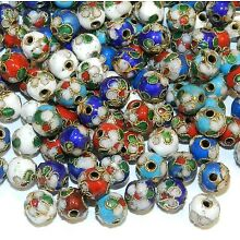 CL174 Assorted Color with Gold 7mm Round Enamel on Metal Cloisonne Beads 24pc