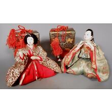 Fine Old Japanese Ningyo Wedding Couple with Two Gift Boxes ca. 20th century