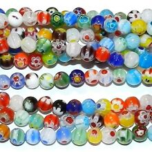 G1810 Assorted Multi-Colored Flower 6mm Round Millefiori Glass Beads 14