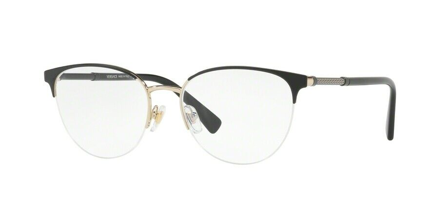 07c3fd7b556 Details about  NEW  VERSACE 0VE1247 1252 BLACK PALE GOLD FRAME
