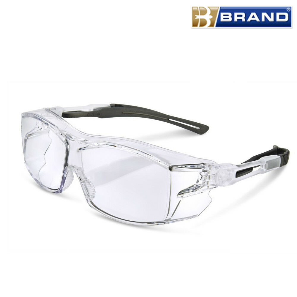 8277bbbd682 Details about B-Brand H60 Clear Lens Safety Specs Spectacles Glasses Fits  Over Prescription