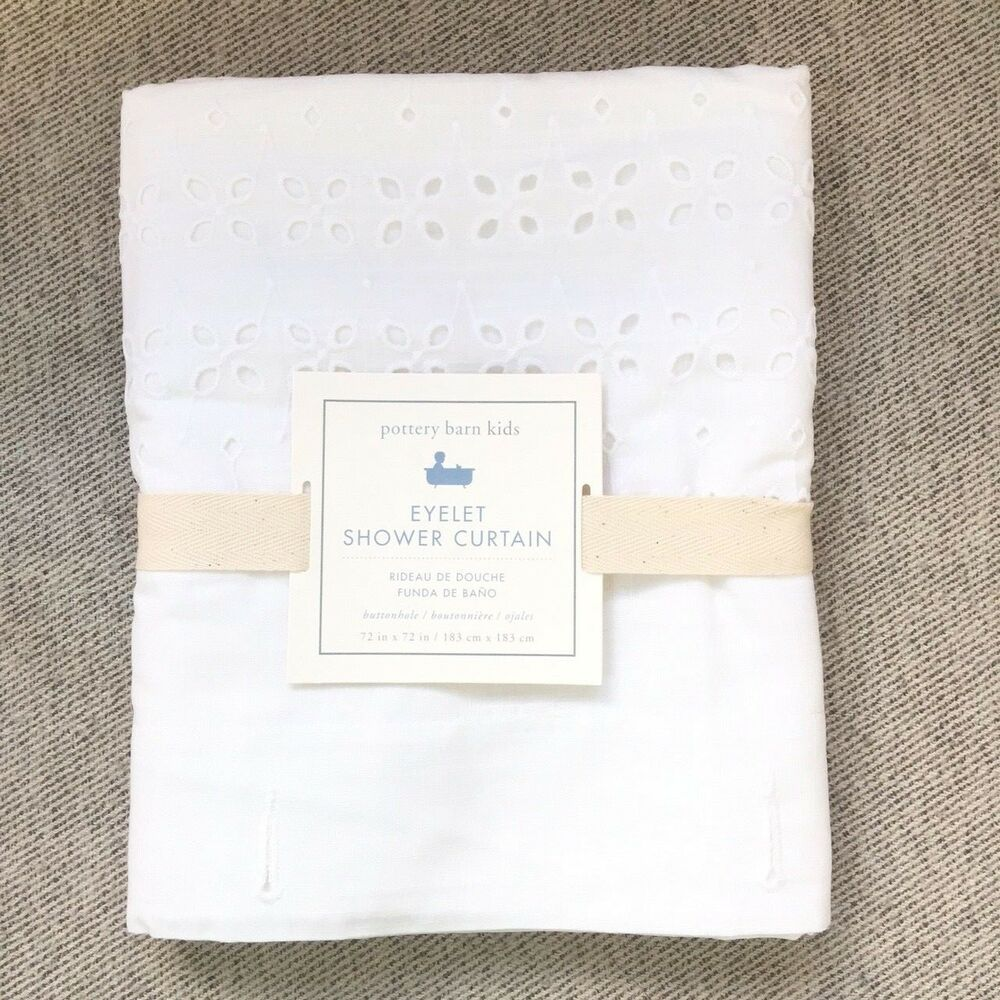Details About Pottery Barn Kids Eyelet Shower Curtain Only White Elegant
