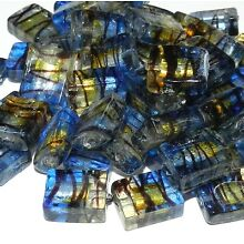 G3240 Clear Blue & Black Gold Foil 15mm Rectangle Lampwork Glass Bead 10pc