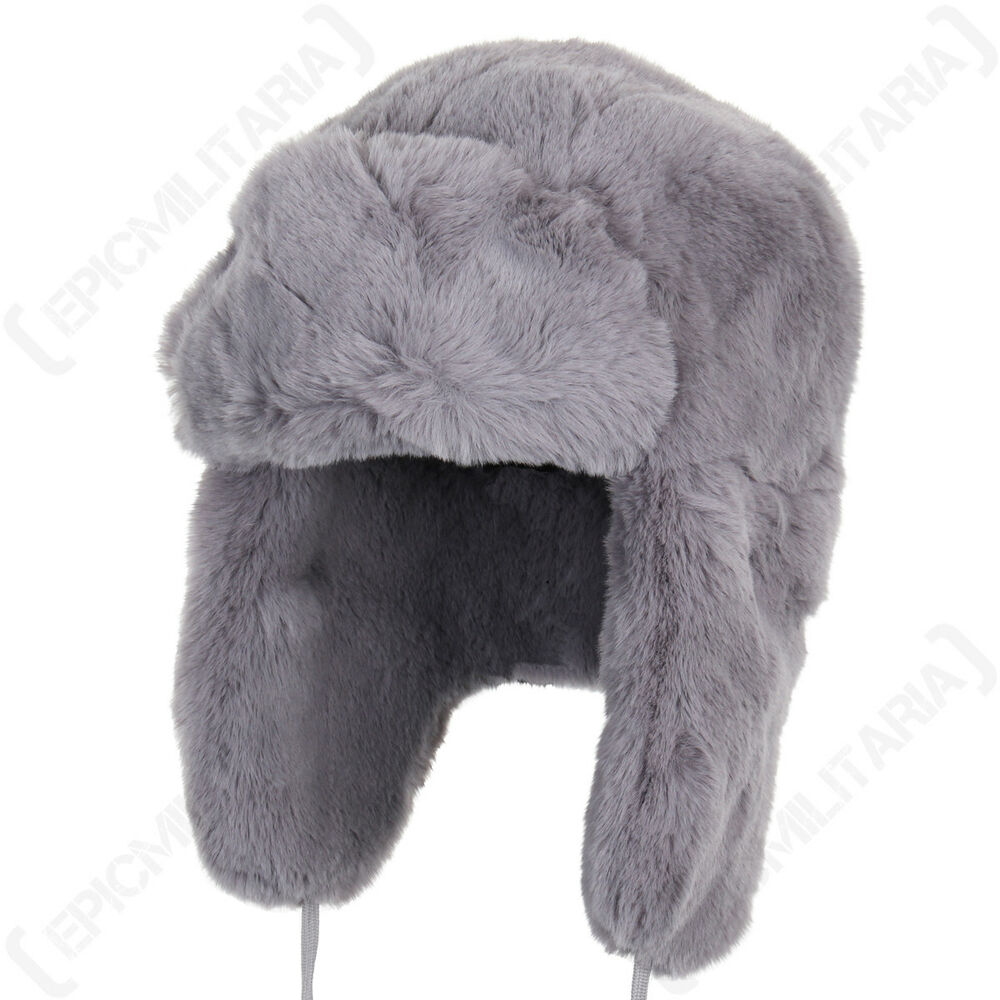67d8fbe4f47 Details about Grey Faux Fur Ushanka - Winter Warm Russian Cossack Thick Ski  Ear Flap Hat New