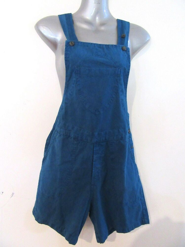 bf5dff5934 Details about YAK & YETI Blue Shorts Pinafore Pants Fair Trade Overalls  Dungarees BNWT S