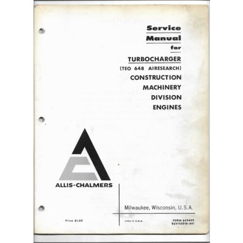 original-allis-chalmers-teo-648-airesearch-turbocharger-service-manual-645652