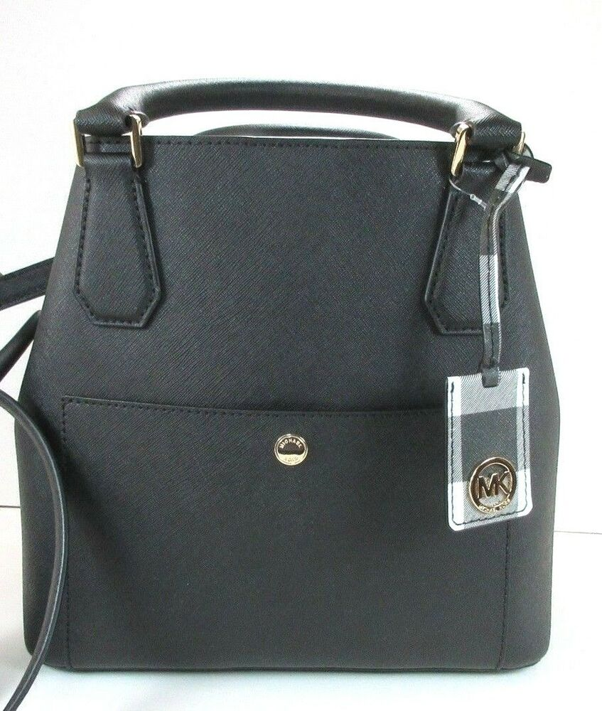 491a56ba90b7 Details about NEW Authentic Michael Kors Greenwich Large Grab Bag in Saffiano  Leather Black